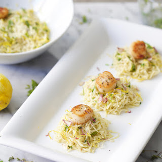 Lemon Butter Capellini With Scallops.