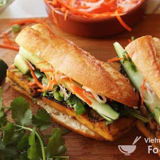 Ingredients of Grilled Lemongrass and Coriander-Marinated Tofu Vietnamese Sandwich.