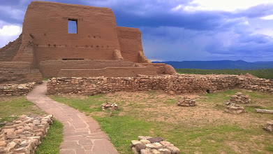 """Photo: August 10-For starters, I was able to go into a """"kiva"""" (just out of the frame, actually) which was an underground spiritual place where Native Americans used to commune with their ancestors."""