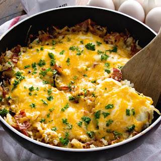 Cheesy Bacon Egg Hash Brown Skillet Recipe