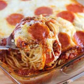 Pizza Spaghetti Casserole.