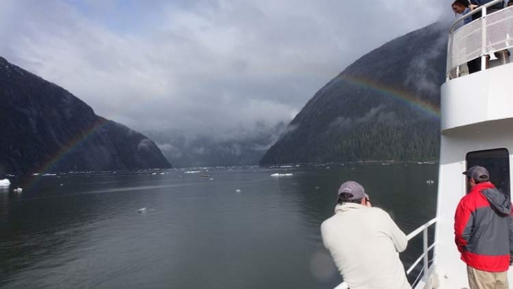 A rainbow stretched across the channel as we made our way toward Sawyer Glacier.