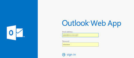 Outlook Web App sign in page