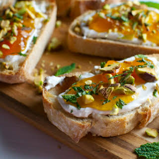 Goat Cheese and Apricot Crostini with Pistachios and Mint.