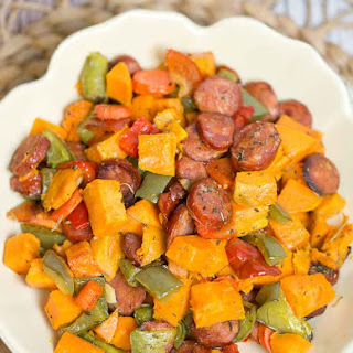 Roasted Vegetables and Sausage.