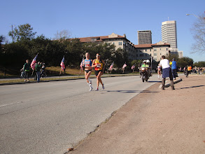Photo: Desi and Shalane heading downtown on the last lap