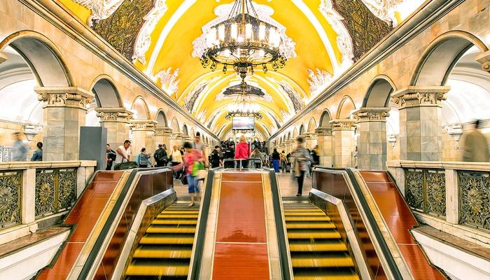 Travelers in Moscow underground