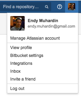 Menu Kanan Atas Bitbucket