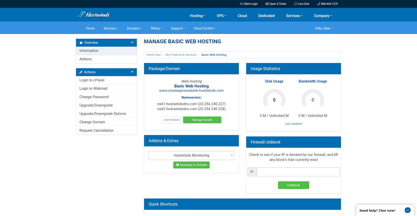 hostwinds hosting management interface