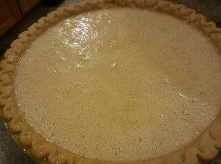 Pour mixture into a deep dish prepared pie crust, home made or refrigerated.