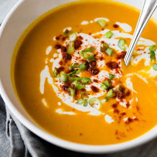 Roasted Red Pepper and Sweet Potato Soup.
