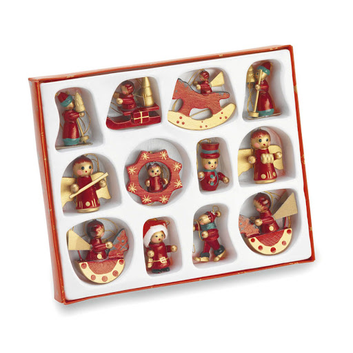 Wooden Christmas Tree Decorations Set