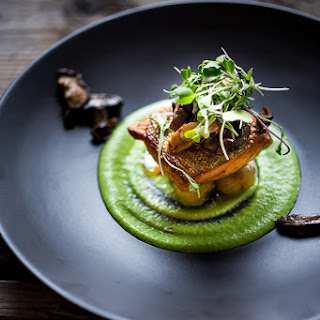 Pan-Seared Steelhead w/ Mushrooms, New Potatoes & Truffled Spring Pea Sauce