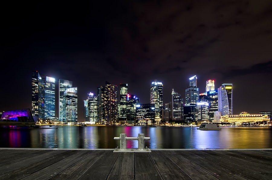Singapore Central Business District by Jashper Delloroso - Travel Locations Landmarks ( cbd, night, light, marina bay, singapore, nightscape, central business district, lights, , city )