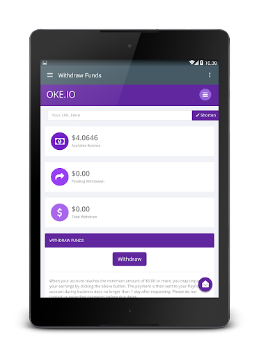 Oke.io - Shorten Urls and Earn Money! 1.0 screenshots 12