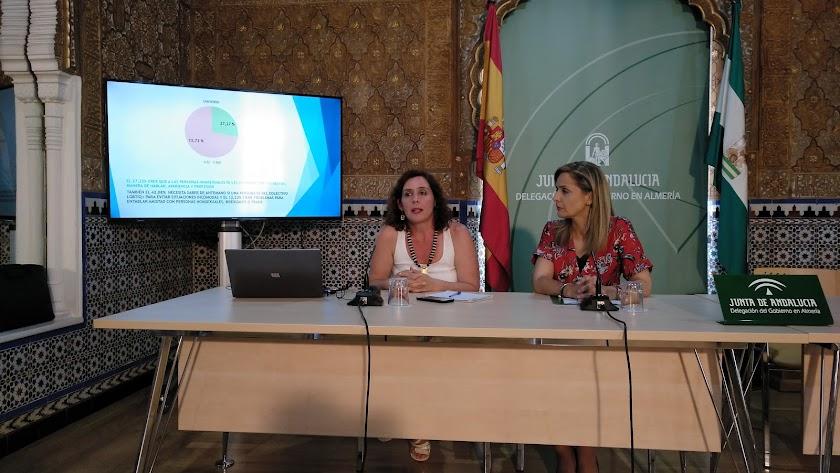 Natalia Ronco, directiva de Colega Almería, y Maribel Sánchez, delegada de la Junta, durante la presentación.