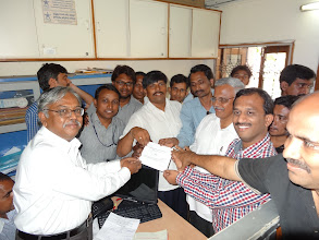 Photo: Collecting Acknowledgment receipt after filing nominations - at the office of DEO, GHMC