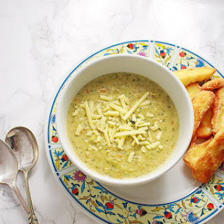 Broccoli Cheese Soup with Halloumi Fries.