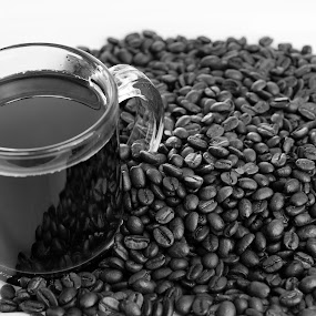 Cup O Joe by Mike Gonzales - Food & Drink Alcohol & Drinks ( black and white, coffee beans, coffee )
