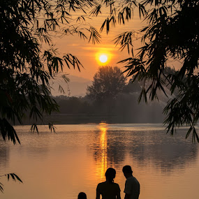 Family Silhouette by Loh Jiann - People Family ( titiwangsa, silhouette, family, lake, sunrise,  )