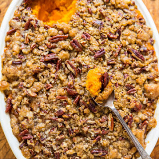 Sweet Potato Casserole with Butter Pecan Crumble Topping Recipe