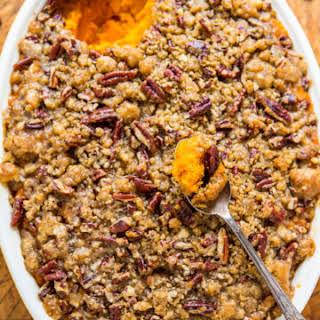 Sweet Potato Casserole with Butter Pecan Crumble Topping.