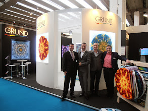 Photo: Grund, first time exhibitors at Ambiente, from the Czech Republic. Love how they displayed their mandala rugs. www.grund.cz  #ambiente14