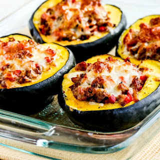 Cheesy Sausage and Pepper Stuffed Acorn Squash.