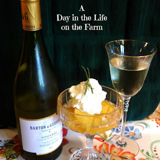 Vouvray Poached Pineapple with Rosemary Whipped Cream