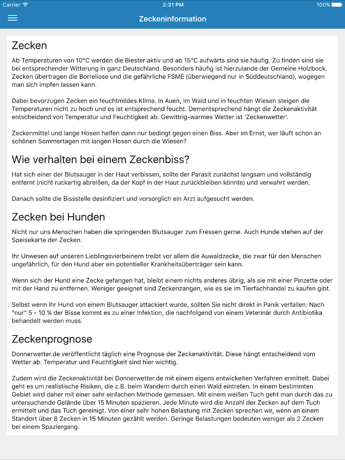 ZeckenApp- screenshot