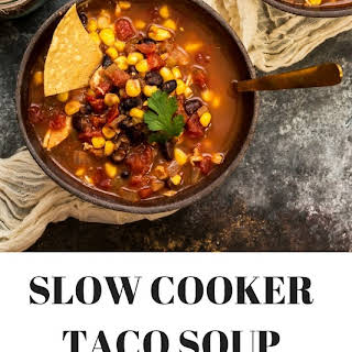 Easy Slow Cooker Chicken Taco Soup.