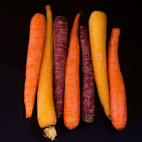 :: rainbow carrots :: by April Brown - Food & Drink Fruits & Vegetables ( parnips, purple, fresh, food, vegetables, carrots, yellow, ornage )