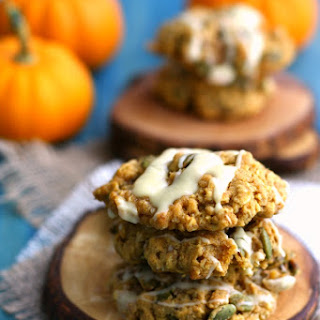 Pumpkin Oatmeal Cookies with White Chocolate Glaze.