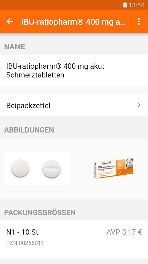 ratiopharm Arzneimittel App – Screenshot