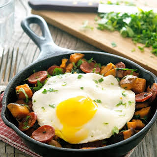 Sweet Potato, Spinach and Chorizo Hash with Fried Eggs.