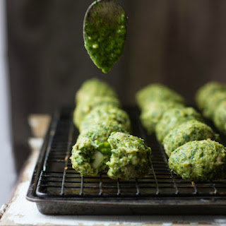 Spanakopita Chicken Meatballs + Spinach-Dill Pesto