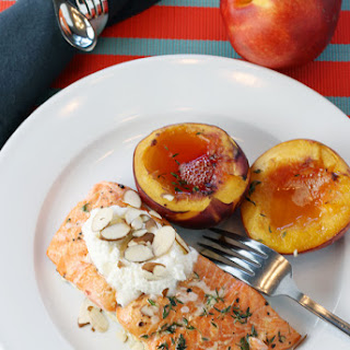 Planked Wild Salmon with Nectarines, Thyme, Honey, Almonds, and Ricotta.