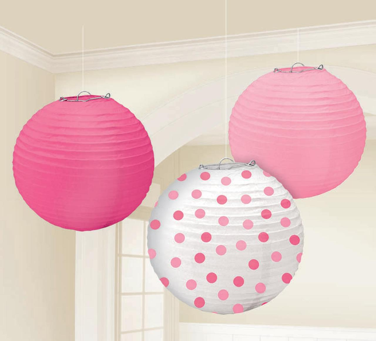 Pink and white damask paper lanterns