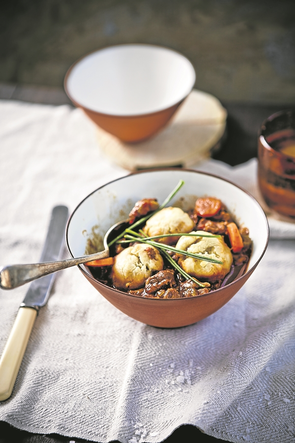 Beef-and-beer stew with chive dumplings.