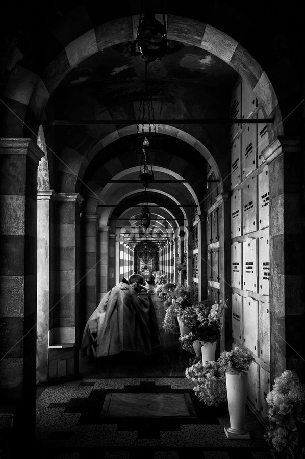 Thinking forward by Alberto Ghizzi Panizza - City,  Street & Park  Historic Districts ( death, black & white, cemetery, pray, grave, paying, graveyard,  )