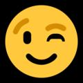 Winking Face on Microsoft Windows 10 May 2019 Update