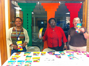 Photo: Joanne Parker (JW), Olive Giles (PHS), Joanne Lewis (CP) at Littlebrook School.