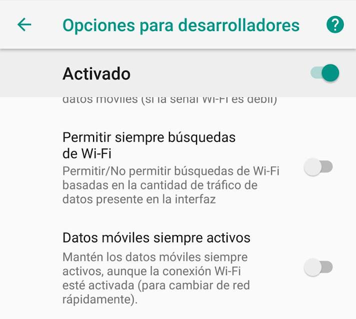 Desconectar los datos móviles
