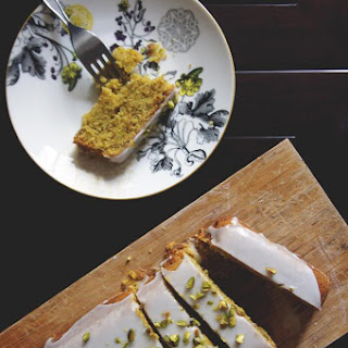 Lemon-Pistachio Polenta Cake with Lemon Icing