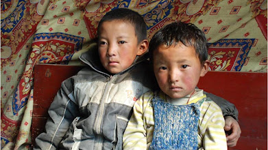 Photo: Young Tibetan boys in a tea-house, en route to Kathmandu ...
