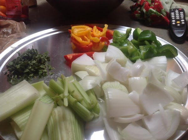 Melt the butter in a large skillet, add the chopped vegetables and shredded sage...