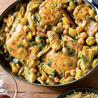 Braised Chicken with Artichokes and Olives.