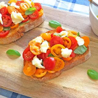 Cherry Tomato Bruschetta with Fresh Mozzarella.
