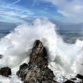 Storm's Fury by Charline Ratcliff - Landscapes Beaches ( nature, california, lover's point, pacific ocean, ocean, winter storms, monterey bay )