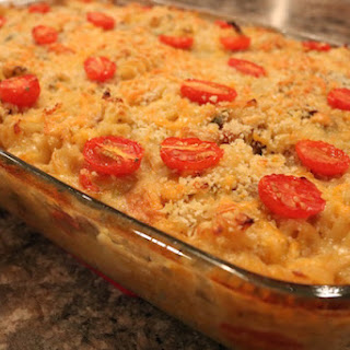 LOADED BRUSSEL SPROUT & TOMATO PASTA BAKE WITH CHICKEN & SAUSAGE